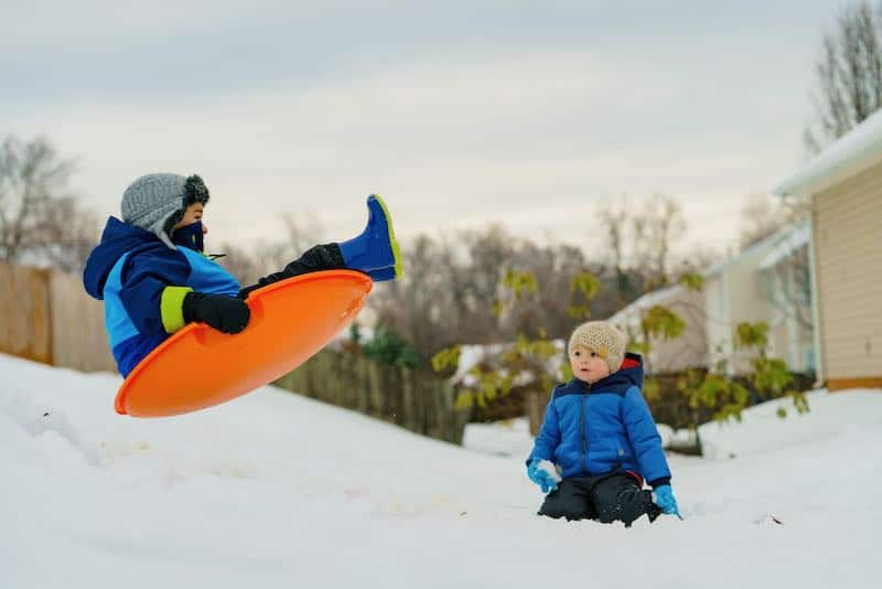 picture of someone sledding