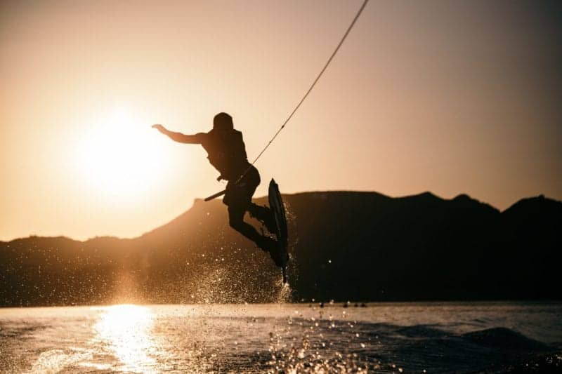 this is a picture of someone wakeboarding