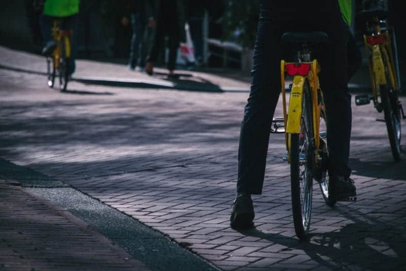 this is a picture of someone biking